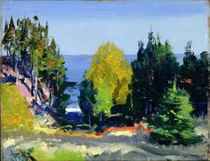 le-desir-de-charcot:  George Bellows (American, 1882-1925), The Grove - Monhegan, 1913. Oil on cardboard, 36.1 × 47.9 cm (14.2 × 18.9 in).