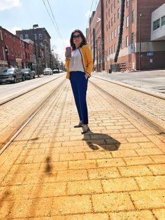 Blue pants yellow cardigan #officewear