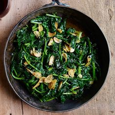 SPINACH: These 21 terrific recipes include luscious creamed spinach and inventive spinach salads.(Sautéed Spinach with Lemon-and-Garlic Olive Oil above) Side Dish Recipes, Vegetable Recipes, Wine Recipes, Vegetarian Recipes, Cooking Recipes, Healthy Recipes, Ham Recipes, Garlic Spinach, Sauteed Spinach
