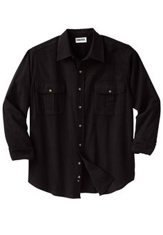 Big and Tall Double-Brushed Solid Flannel Shirt | New Arrivals for Men | OneStopPlus  $29.99