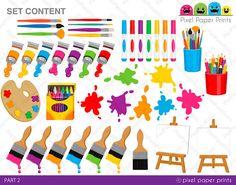 Little Artists  Clip art and digital paper set  Art Party