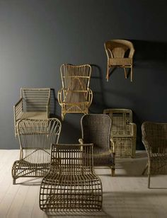 Antique - modern wicker chairs