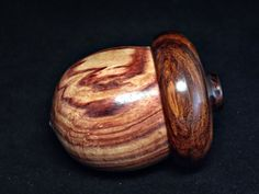LV-1191 Brazilian Tulipwood & Cocobolo Hand Turned Wooden Acorn Trinket Box, Keepsakes, Jewelry Box-SCREW CAP via Etsy