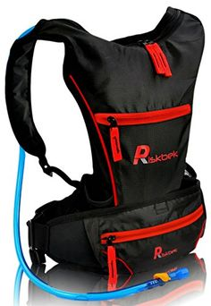 Top Rated Hydration Pack with FREE Waist Pack  2 Liter Hydration Bladder by RiskbekTM Best Hydration Backpack for Hiking Running Biking  Fits Men Women and Kids perfectly * Check this awesome product by going to the link at the image.
