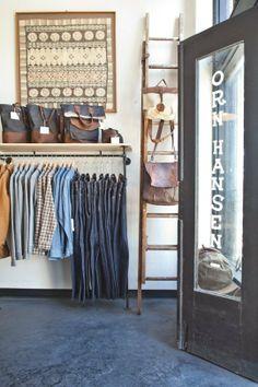 Orn Hansen - check out the old ladder as a handbag hanger!