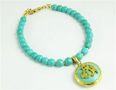 Our Turquoise Blue Gold Plated Allah Name Charm Bracelet will have you looking stylish and glamorous! This is definitely a piece to get you noticed! Price: $29.85 #allahbracelet #islamicbracelet #muslimjewelry #allahcharmbracelet #arabicbracelet #arabicjewelry #allahloversjewelry