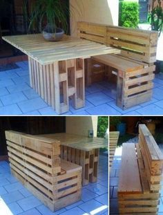 Pallet bench and table - @Olivia French love this style of bench, could easily store our garden stuff under it