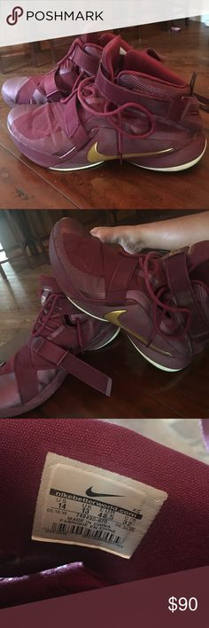 NIKE LEBRON ZOOM SOLDIER 9 MAROON & GOLD SNEAKERS Worn once great condition (ALL OFFERS ARE CONSIDERED!!) Nike Shoes Sneakers