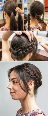 How to Get the Milkmaid Braid Right Off the Golden Globes Red Carpet If you can create a simple braid, you can do this! This easy milkmaid braid tutorial would look chic at any event. Try this hairstyle for your next wedding, cocktail party, or barbecue! Girl Hairstyles, Braided Hairstyles, Wedding Hairstyles, Updo Hairstyle, Braided Updo, Barber Hairstyles, Retro Hairstyles, Natural Hairstyles, Summer Hairstyles