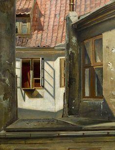 Harry Kluge (Danish, 1879-1949) View through a window, Copenhagen 20 3/4 x 16in (52.7 x 40.6cm)