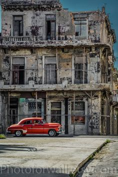 "Cuban art, Old Havana Cuba Photo, Classic Car Art, Red Vintage Car, Classic Car Photography, Cuba Art Print, Wall Art ""Urban Retro"" by PHOTOFORWALL on Etsy"
