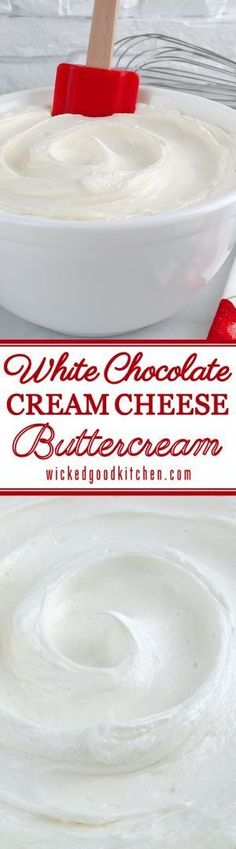 White Chocolate Cream Cheese Buttercream Frosting ~ This special frosting is full of buttery flavor and is creamy, light and fluffy. Just the right amount of butter, cream cheese and white chocolate is used to create a buttercream that not only pipes beautifully, but has the texture of mousse and tastes just like White Chocolate Cheesecake!
