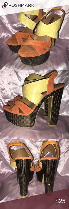 """Shoe Republic LA  Prime Orange Heels Sz7 Shoe Republic LA Sz 7... Prime Style heel has an orange & yellow upper w/ an elastic back strap.. Heel is A bronze textured 2"""" platform & 5.5"""" block heel.. These shoes are gorgeous but have some worn spots on bronze area.  They have only been worn a couple times. The worn spots are from not being in box during storage. Shoe Republic LA Shoes Heels"""