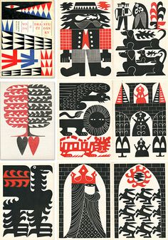 Art graphics in red white and black  Eagle, castle, princess,  hearts, western cowboy, sun, lion , tiger, dog @ more.  Great for DIY paper crafts, mixed media and collage.