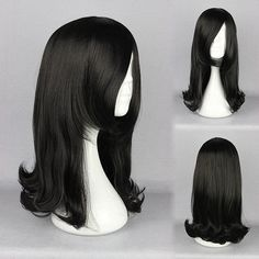 Cosplay Costume Wig Synthetic Fiber High-Temperature Black Straight Lady Elegant Charming