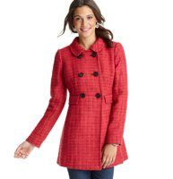 """Tall Berry Tweed Coat - For an unforgettably sweet result, we started with preppy-glam tweed and finished it with a juicy berry hue—it adds a vibrant pop of color on the chilliest of days. Collared. Long sleeves. Double-breasted styling with contrast buttons. Flap pockets. Button tab accent at back waist. Lined. 34 1/2"""" long."""
