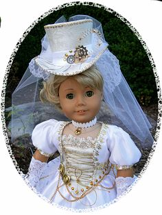 Steampunk victorian wedding dress for american girl or other 18 inch