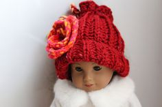 Knitted winter hat for your American Girl Doll or by Cottonbeanies, $8.00