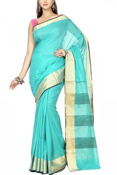Turquoise & Gold Zari Cotton Silk Maheshwari Saree