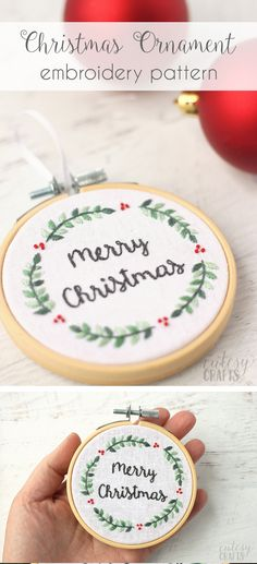 Free Christmas Embroidery Pattern. Make a cute embroidery hoop Christmas ornament! #embroidery #handembroidery #christmasembroidery #christmasornament