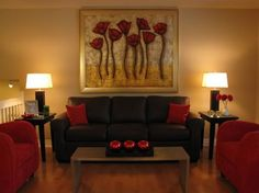 Brown Sofa With Red Accents   Google Search