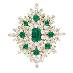 Magnificent and Historic emerald and diamond brooch pendant by Van Cleef & Arpels, circa 1967