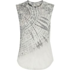Raquel Allegra Tie-dyed cotton-blend jersey tank ($260) ❤ liked on Polyvore featuring tops, grey, grey tank top, gray tank top, loose tank tops, tie dye tops and grey tank