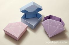 Free Printable - Origami Crystal Box + Tutorial, 9 free printable origami crystal box papers, perfect gift boxes, straight forward to fold - watch the accompanying tutorial video for these origami gem(Diy Ideas Manualidades) Instruções Origami, Origami Gifts, Useful Origami, Origami Design, Origami Stars, Dollar Origami, Origami Ball, Origami Bookmark, Origami Folding