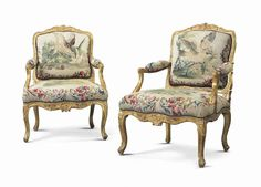 Louis XV chairs, gilded, Cresson, 18th century