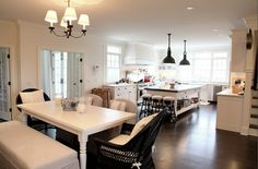 Suzie: Cote de Texas - Beautiful kitchen design with white turned leg dining table, linen ...