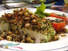 Roasted Halibut with Walnut Crust Recipe - Giovanni's Fish Market Clean Recipes, Fish Recipes, Seafood Recipes, Dinner Recipes, Healthy Recipes, Walnut Crust Recipe, Alaska Seafood, California Food