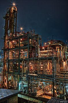 HDR Photo: Factory night view 'Pipe house (Vertical composition)'