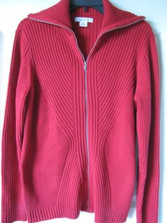 LIZ CLAIBORNE Long Sleeve Zip Front Ribbed Cardigan in Red Size XL Ret $50 #LizClaiborne #Cardigan