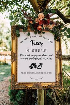 Eye-catching signage for an unplugged wedding ceremony. DIY Wedding Ideas | Rustic Wedding Decorations | Elegant Wedding Decor on a Budget | #wedding #weddingideas #rusticwedding #weddingdecorations #diywedding