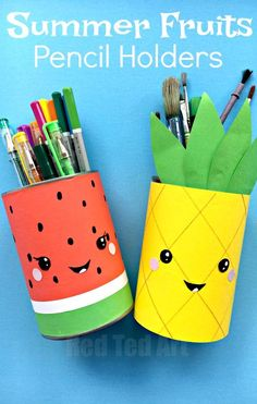 Summer Pencil Holders - this little Melon Pen Pot and Pineapple Pen Pot are super quick and easy to make and look oh so fun. Update your craft area for summer. Love a bit of upcycling for summer. Happy Summer Crafts for Kids!!! #artsandcraftsforkids,