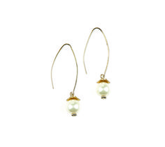 "Pearl Drop Earrings- 2.25"" Large gold hoops are accented with glass pearls on these classic earrings. $24 #pearldrop #yourstylemialisia"