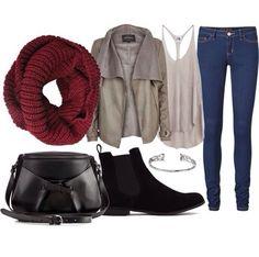 Blue jeans, #Maroon scarf, black boots, cross body bag