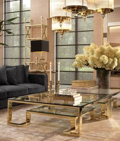 Transform your interior with the Huntington Coffee Table. With its clean line design, this rectangular gold finished designer coffee table features a clear glass tabletop and a lower shelf that provides space for decorative home accessories. Elegant Living Room, Living Room Modern, Living Room Designs, Living Room Furniture, Living Room Decor, Bedroom Decor, Centre Table Living Room, Center Table, Home Interior