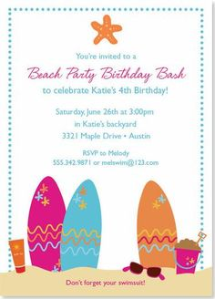 Birthday Party Invitations - Summer Beach Party Invitation