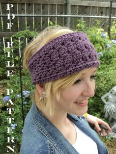 CROCHET PATTERN ONLY--Star Stitch Wide Crochet Headband with large button closure - purple view