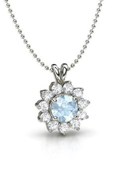 Round Aquamarine 14K White Gold Necklace with White Sapphire
