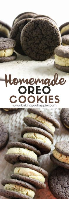 Homemade Peanut Butter Oreo Cookies, perfectly textured addicting cookie with the most delicious peanut butter creamy filling you'll ever taste! Homemade Oreo Cookies, Homemade Peanut Butter, Creamy Peanut Butter, Shortbread Recipes, Cookie Recipes, Dessert Recipes, Sweet Desserts, Vegan Desserts, Sweet Recipes