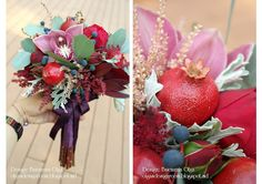 Baiciurina Olga's Design Room: Потрясающий букет невесты на винно-гранатовую свадьбу!-Gorgeous wine&pomegranate themed wedding bouquet! Pomegranate, Wedding Bouquets, Christmas Wreaths, Floral Wreath, Holiday Decor, Home Decor, Granada, Floral Crown, Decoration Home