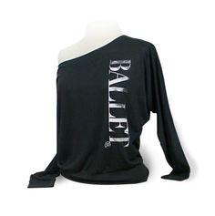 """Ballet Dolman Long Sleeve Dance Top """"Ballet"""" - Black. Ballet top for coverup over leotard. Dancewear for ballet dancers. by designer4dance"""