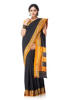 Jet Black Pure Silk Hubli Saree