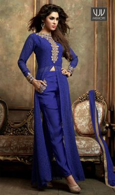 Talismanic Blue Resham Work Georgette Salwar Suit  This season your look gets better definition with just a little attention to detail. Create a smoldering impact by this blue georgette salwar suit. This ravishing attire is amazingly embroidered with embroidered and resham work. Comes with matching bottom and dupatta