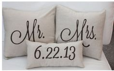 The cutest throw pillows for newly weds:)