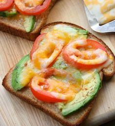 tomato, avocado melt~4 slices gluten free bread~ 1-2T  mayo~ cayenne pepper, to taste~ 1 small Roma tomato, sliced thin~ 1/2 avocado, sliced thin~ 8 slices of cheese (your favorite )  Instructions~  Spread   thin layer  mayo  on each piece of bread~ sprinkle w/  pinch of cayenne ~ Layer bread w/ tomato & avocado slices & top w/ cheese~Broil on high for 2-4 minutes, or until bread is toasted & cheese   bubbly