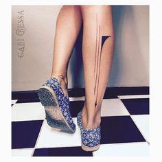 Simple lines by Tattoos 2014, Line Art Tattoos, Black Ink Tattoos, Body Art Tattoos, Small Tattoos, Tatoos, Calf Tattoo, Tattoo On, Arm Band Tattoo