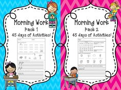 Morning Work Bundle! Get Pack 1 and Pack 2 together and save 25%!  90 Days of morning work (can also be used as classwork and homework too)